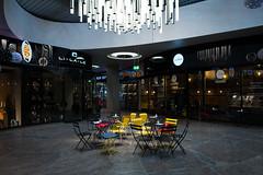 LE COPAIN (Chris Buhr) Tags: rot café bar germany munich münchen deutschland restaurant licht nikon f14 gelb le 24 mm blau nikkor stuhl beleuchtung stühle farben d800 tische stuehle decken beleuchtet copain