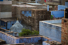 Jodhpur - The blue City (cedmars) Tags: voyage city trip travel blue panorama india rooftop view bleu ville rajasthan guesthouse inde jodhpur mewari
