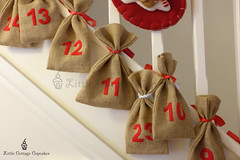 Christmas Advent Calendar 2014 (Little Cottage Cupcakes) Tags: christmas adventcalendar burlap hessian santasacks littlecottagecupcakes adventcalendaronstairs