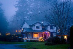 christmas mist (kevin.boyd) Tags: road christmas trees winter house mist canada fog yard lights bc warmth victoria powerlines porch gloom bucolic