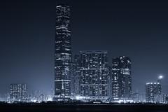 Highest in HK (Yohsuke_NIKON_Japan) Tags: china longexposure urban blackandwhite bw hk building night skyscraper hongkong nikon asia waterfront nopeople nightview kowloon icc eastasia 2485mm d7100 internationalcommercecenter