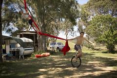 Otama Silks 08 (C & R Driver-Burgess) Tags: trees boy red girl field pine ribbons kayak aerial unicycle hanging caravan swinging pulling campsite silks