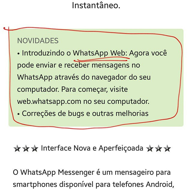 Até que enfim!!! #novidade #whatsapp #web #whatsappnopc