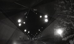 Experimenting with teleportation (m_travels) Tags: road trees light sky blackandwhite moon abstract night analog flying highway long exposure tunnel double multiple analogue argentique overlap spacetime ilforddelta3200 filmphotography teleportation