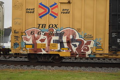 PIER (TheGraffitiHunters) Tags: street pink blue red white black art car train graffiti pier colorful paint box tracks spray boxcar freight benched benching