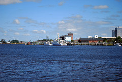 Cape Fear River (Phil Spell) Tags: sky usa water clouds river dock nikon unitedstates outdoor northcarolina shore northamerica wilmington riverbank boar watercraft capefearriver newhanovercounty