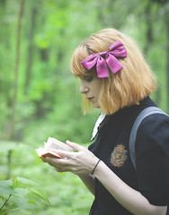 In Words We Find Our Way (sarajdsign) Tags: park school girl grass forest read study harajuku gree learn