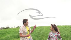 Teenager Boy And Girl Playing With Flying Kite (alekseiptitsa) Tags: summer vacation sky people sunlight holiday kite man game cute girl childhood fun outside happy person freedom fly flying kid child play wind outdoor joy young lifestyle teen together recreation activity caucasian