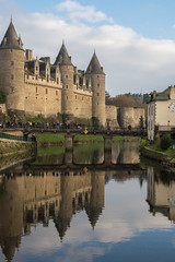 Medieval Reflection (Aymeric Gouin) Tags: voyage city travel bridge france reflection building castle water architecture mirror brittany eau cityscape bretagne olympus medieval breizh reflet pont chateau miroir morbihan ville omd josselin em10 aymgo aymericgouin