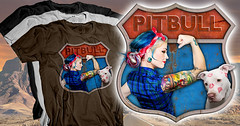 Rosie the Riveter for Pitbull Dogs (Beverly & Pack) Tags: rescue dog brown white black love dogs sign tattoo proud vintage bag puppy t hoodie route66 puppies support highway rust kiss colorado texas forsale muscle rosietheriveter rusty kisses tshirt pride save pit bull tattoos pitbull terrier american strong donation nosering lipstick breed pitt piercings bully adopt staffordshire tee fundraiser tote bsl bicep adoption pitbulls tees nonprofit totebag dogrescue breedspecificlegislation mariahspromise mariahspromiseanimalsanctuary