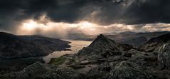 Ben A'an and Loch Katrine (GenerationX) Tags: sunset sky mountains water clouds landscape evening scotland rocks unitedkingdom dusk scottish peak neil gb summit rays trossachs barr callander lochkatrine benaan stronachlachar locharklet canon6d