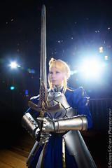 Saber (azurepixels) Tags: people night cosplay fate armor lensflare saber flare sword knight rin excalibur fatestaynight rintohsaka tohsaka twintails