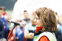Maureen Cormack, U.S. Ambassador to Bosnia and Herzegovina giving her opening speech at the ceremony (ViaDinarica) Tags: people food usaid nature landscape locals hiking ceremony runners awards mountainbiking whitetrail undp bosniaandherzegovina wildnature blidinje blidinjelake viadinarica connectingnaturally terradinarica