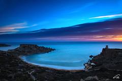 Ghajn Tuffieha, MALTA (glank27) Tags: blue sunset sea seascape tower beach canon landscape eos coast long exposure mediterranean malta hour efs hoya nd400 tuffieha f3556 70d ghajn 1585mm ilkarraba