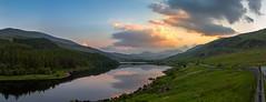 Llynnau Mymbyr at Sunset (liamhancox1) Tags: llynnau mymbyr sunset wales capel curig north sun set cloud clouds yellow setting lake still no wind forrest road view reflections