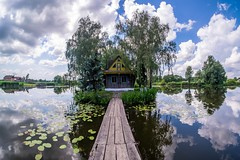 Lonely island (meleshko.alex) Tags: europe ukraine village lake reflection bridge river water walking travel trees tree trip landscape panorama hdr fisheye sky clouds fujifilm fuji xt1 samyang samyang8mm rokinon rokinon8mm 8mm island