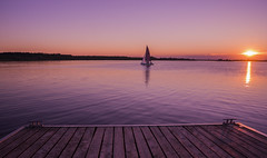 Summer Time (Moustafa Kzaiha) Tags: sunset summer sky orange sun lake reflection water germany relax landscape outdoors boat wooden day view purple sony horizon calm ilce7