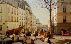 Le printemps s'tait install en terrasse  MontmartreEarly spring on a terrace in Montmartre (Michele*mp) Tags: street city paris france caf town spring europe ledefrance terrace terrasse montmartre rue printemps ville paris18 matineensoleille terrassedecaf michelemp