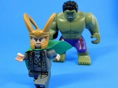 Puny God (MrKjito) Tags: green monster comic lego god loki superhero minifig hulk marvel universe cinematic avengers asgard mortal