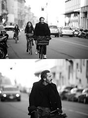 [La Mia Citt][Pedala] (Urca) Tags: portrait blackandwhite bw bike bicycle italia milano bn ciclista biancoenero bicicletta 2016 pedalare dittico 85561 ritrattostradale nikondigitalemir
