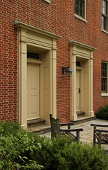 Doors, Elliott Hall, Miami University  Oxford, Ohio (Pythaglio) Tags: county windows ohio building brick stone hall university doors chairs miami frieze structure 66 historic sidewalk oxford butler bond bushes flemish federal entries surrounds elliott doorways cornice architrave entrances entablature 1828 pilasters transoms sills jackarched 73001391 but1591