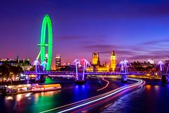 London Eye At Night (Neal_T) Tags: longexposure blue house london eye westminster night river golden big twilight long exposure ben jubilee bridges hungerford hour parlament hungerfordbridge themes houseofcommons goldenjubileebridges hungerfordbridgeandgoldenjubilee
