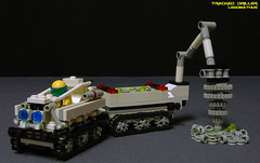 57_Tracked_Driller (LegoMathijs) Tags: expedition energy lego crystal space wheels tracks mining technic modular planet scifi vehicle drill containers miners moc ores legomathijs oswion