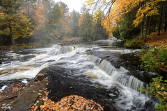 Foggy Autumn day at Bond Falls (Michigan Nut) Tags: autumn usa mist fall nature leaves rain fog forest river waterfall stream michigan scenic waterfalls wilderness uppermichigan bondfalls