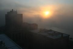 Thick fog,  St Paul, MN (Marianna Gabrielyan) Tags: fog stpaul sky thick mississippi minnesota river canon xti 400d canon1855mmf3556 kellogg square apartments kelloggsquareapartments