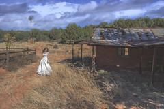 Bradshaw Ranch (Diana Lynn's Photography) Tags: ranch arizona portrait woman white windmill farmhouse self photography dress farm sedona az lynn diana lyn bradshaw dianalynphotography dianalynnphotography bradshawranch