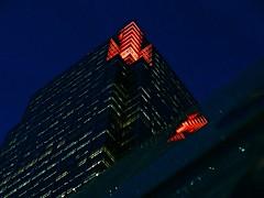 Urban Beacon (Deepgreen2009) Tags: light red urban london tower dark evening canarywharf beacon offices