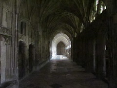 Ghostly cloisters, Gloucester Cathedral [Explored] (pefkosmad) Tags: uk england church architecture cathedral gothic medieval gloucestershire explore gloucester grainy ghostly middleages cloisters gloucestercathedral explored