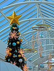 Glimmering Jewels Of The Season - 015 Holiday series, Melbourne AU 19Nov2014 (JAYKAY144) Tags: christmas blue decorations sky white tree green yellow metal stars gold aluminum cone skylight australia melbourne jewels shining arcs baubles glimmering holidyas