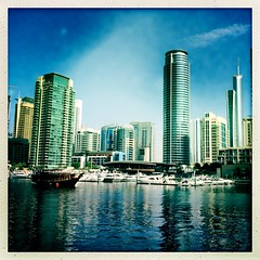 Dubai Marina 1 (sonofwalrus) Tags: water marina buildings boats dubai uae middleeast unitedarabemirates dubaimarina iphone  hipstamatic