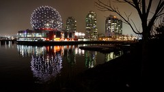 Science World lighting up False Creek (it caught my eye) Tags: city urban reflection green fog architecture vancouver buildings design landscapes education cities science falsecreek westcoast scienceworld fogcouver