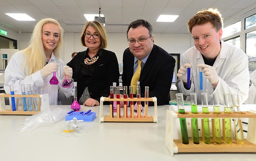 Employment and Learning Minister Dr Stephen Farry is pictured (l-r) with: Ashleigh Reid (student), Collette Carson (Head of School for Applied Science, SERC) & Michael Spurway (student) after opening new science labs at SERC.