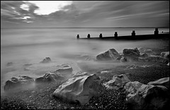 Milford B&W (muddlemaker1967) Tags: longexposure seascape water clouds nikon rocks hampshire groyne