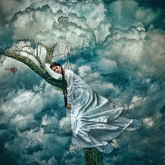 Sleep (Spoken in Red) Tags: blue tree clouds surrealism slumber branches longhair pillow fantasy dreams lichen nightsky redhair baretree fineartphotography sleepingportrait fineartportrait whitegown conceptphotography billowingclouds womansleeping longbraid flowinggown spokeninred billowinggown