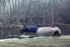 (Flimmy) Tags: park blue winter woman snow cold water girl wisconsin forest canon river 50mm spring woods floating levitation april teresa levitating 5dmarkii flimmy