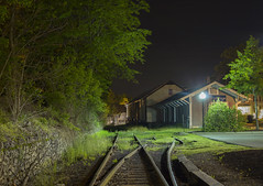 Siding ( estatik ) Tags: county railroad light house black abandoned overgrown station stone wall night train river dark switch lights spring parkinglot long exposure track quiet seat parking main tracks nj lot bank rr valley western siding freight flemington lehigh hunterdon may232016