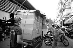 . (Out to Lunch) Tags: street leica blackandwhite me monochrome outdoors market tricycle vietnam tay business saigon cv binh 25mm cholon