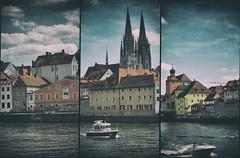 Regensburg (dannicamra) Tags: city sky building texture water river germany bayern bavaria boot boat nikon cathedral dom stadt fluss regensburg gebude danube donau d5100