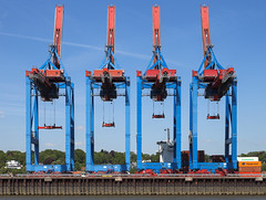 Stiff-Legged Cargo Dancers (AnyMotion) Tags: travel germany reisen harbour crane hamburg cargo hafen kran hamburgerhafen 6d 2016 anymotion containercranes fracht containerkrne hamburgimpressions canoneos6d