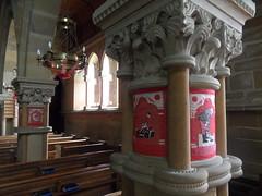 Pillar scenes (Nekoglyph) Tags: windows light red christchurch white art stone wooden community arch needlework yorkshire capital pillar historic needlepoint chandelier local ornate pews tapestry appletonlemoors