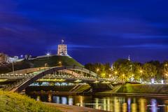 Gediminas castle, Vilnius (Lithuania) (Antonio Camelo) Tags: bridge castle rio night reflections river puente lights luces noche landscapes photo nikon colours colores cielo castillo reflejos