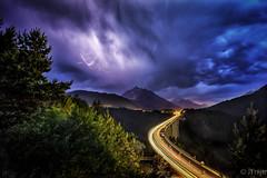 Serles under fire (JTrojer) Tags: bridge mountain storm alps austria tirol alpine alpen stubaital austrianalps europabrcke patsch trojer