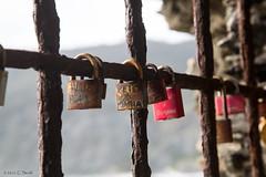 Monterosso- Love Padlocks (cheryl strahl) Tags: red italy love europe declaration cinqueterre names monterosso liguriansea padlocks monterossoalmare italianriveria lovepadlocks
