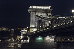 Budapest Chain Bridge (johanneskramml) Tags: bridge sky building architecture night river walking photography lights hungary crossing waterfront riverside outdoor budapest structure chain infrastructure danube buda pest brigde