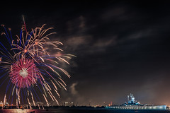 Happy 4th of July 2016 (USS Battleship Alabama) (Deadly_Dreamer) Tags: window playground river lens pier dock ship fireworks anchor battleship burst fullframe battleground 14g nikon50mm nikond700 ussbattleshipalabama 4thofjulyfireworks2016