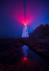 Big Tub Lighthouse  Ontario  , Canada  Khatchigloves.blogspot.com (khatchigtchaghasbanian) Tags: lighthouse landscape night photography fog foggy nature tobermory ontario canada brucepeninsula nationalpark fathomfive georgianbay greatlakes navigation light reflection moody spring evening water glow beam red cool cold color colour calm peace peaceful calming beauty beautiful travel cottage vaction rock ca
